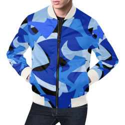 Camouflage Abstract Blue and Black All Over Print Bomber Jacket for Men (Model H19)
