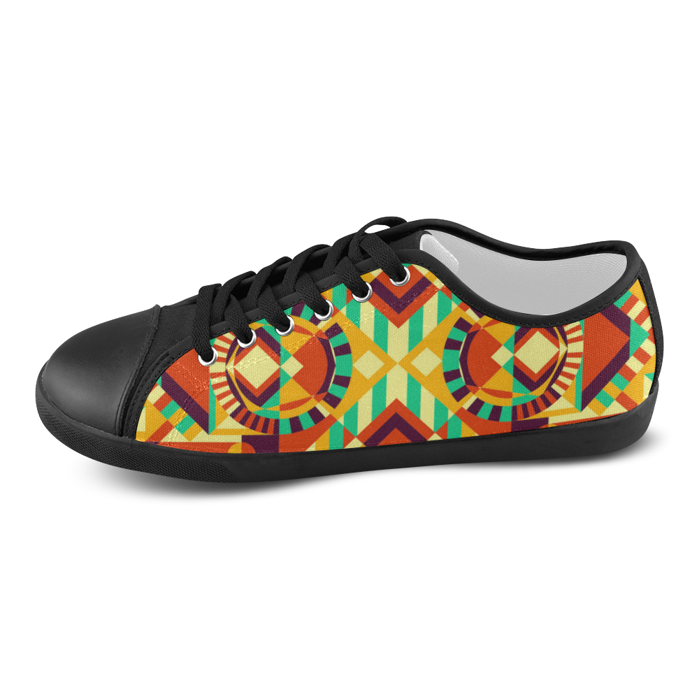 Modern Geometric Pattern Women's Canvas Shoes (Model 016)