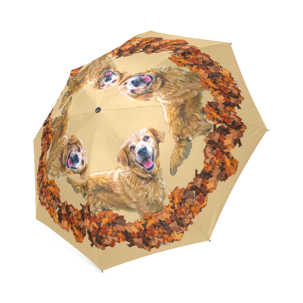 golden retriever umbrella Foldable Umbrella (Model U01)