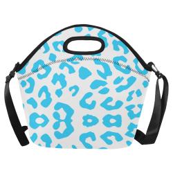 Blue and White Cheetah Neoprene Lunch Bag/Large (Model 1669)