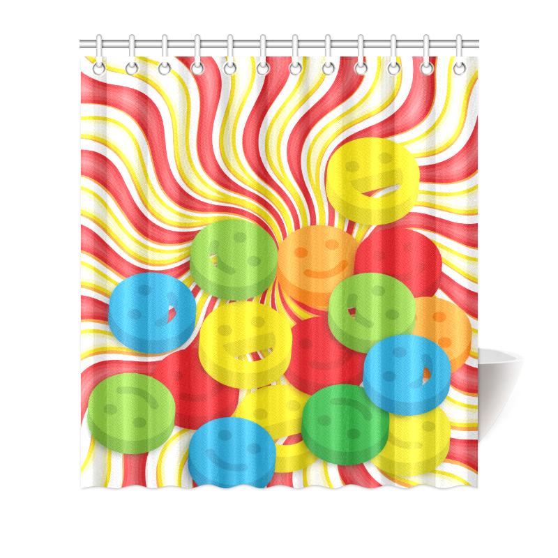 "Rainbow Swirls Smiley Face Shower Curtain Shower Curtain 66""x72"""