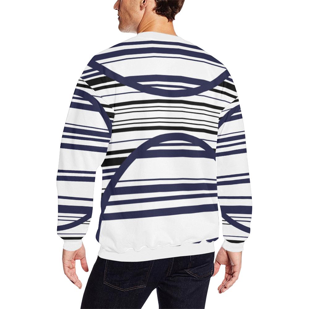 circle bar trans Men's Oversized Fleece Crew Sweatshirt (Model H18)
