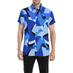 A201 Abstract Shades of Blue and Black Men's All Over Print Short Sleeve Shirt (Model T53)