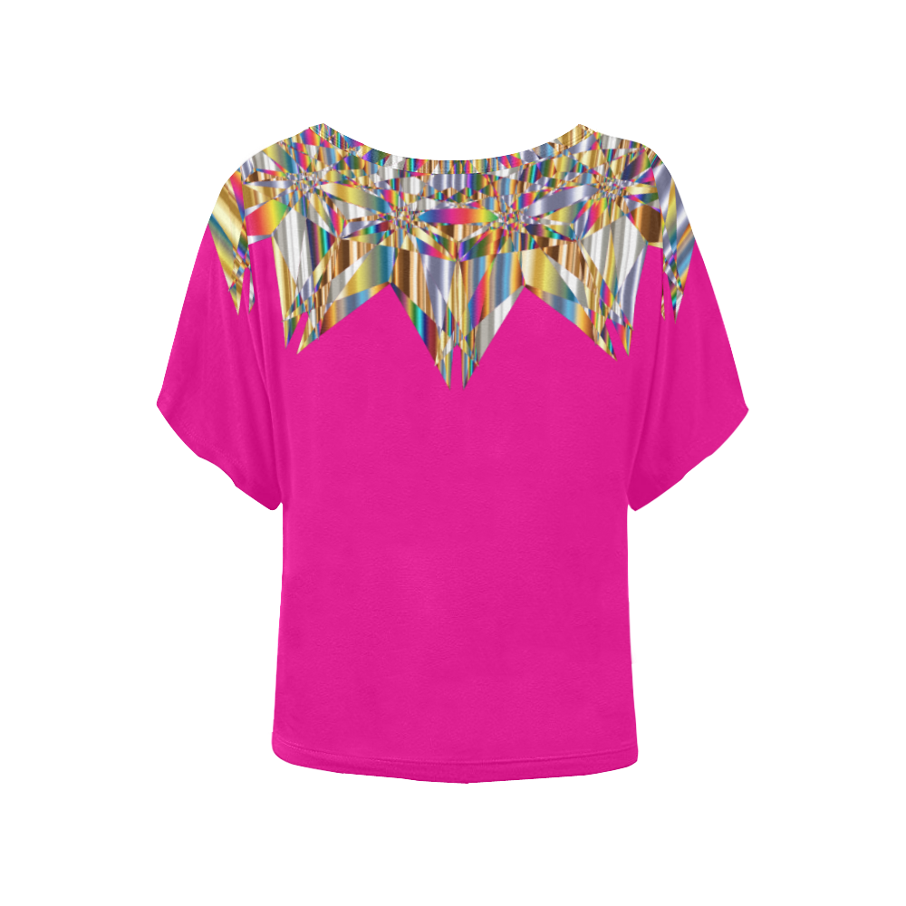 Gem Abstract/ Pink Women's Batwing-Sleeved Blouse T shirt (Model T44)