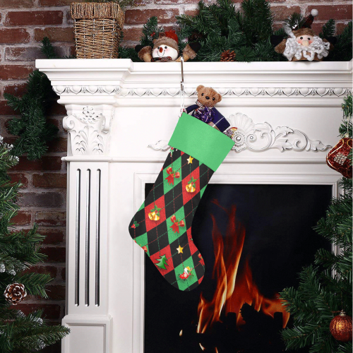 Christmas Argyle Pattern Black with Green Top Christmas Stocking