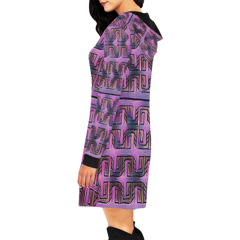 The Earth and the Sun3 All Over Print Hoodie Mini Dress (Model H27)