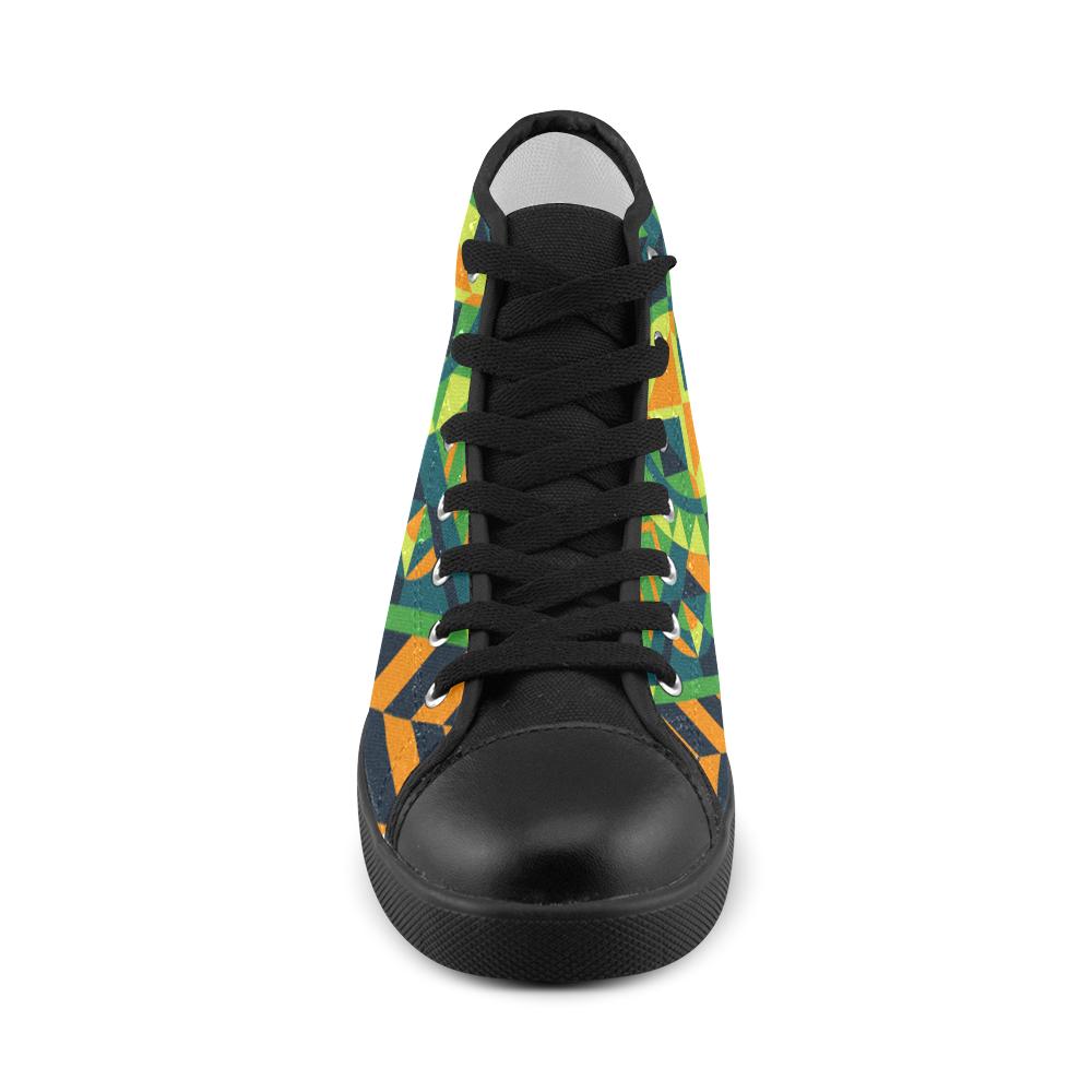 Modern Geometric Pattern Women's High Top Canvas Shoes (Model 002)