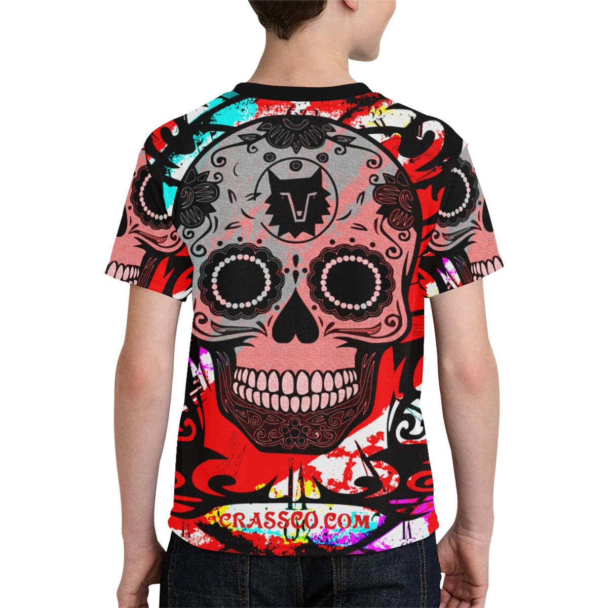SKULL TRIBAL RED Kids' All Over Print T-shirt (Model T65)