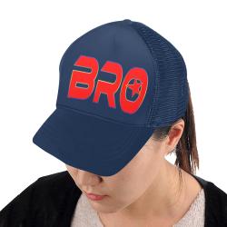 BRO RED BASECAP BLUE Trucker Hat H (Front Panel Customization)