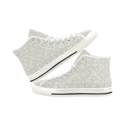 White 3D Geometric Pattern Vancouver H Men's Canvas Shoes (1013-1)