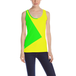 Bright Neon Green and Yellow All Over Print Tank Top for Women (Model T43)