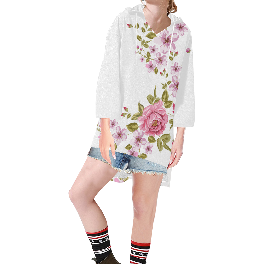 Pure Nature - Summer Of Pink Roses 1 Step Hem Tunic Hoodie for Women (Model H25)