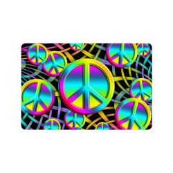 "Neon Colorful PEACE pattern Doormat 24""x16"""