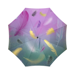 Dancing Feathers - Pink and Green Foldable Umbrella (Model U01)