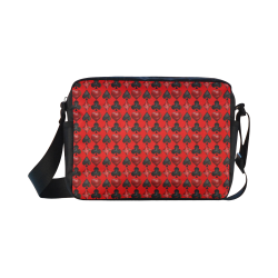 Las Vegas Black and Red Casino Poker Card Shapes on Red Classic Cross-body Nylon Bags (Model 1632)