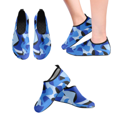 Camouflage Abstract Blue and Black Women's Slip-On Water Shoes (Model 056)
