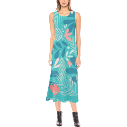 Teal, Aqua and Pink Floral Cruise Wear Phaedra Sleeveless Open Fork Long Dress (Model D08)