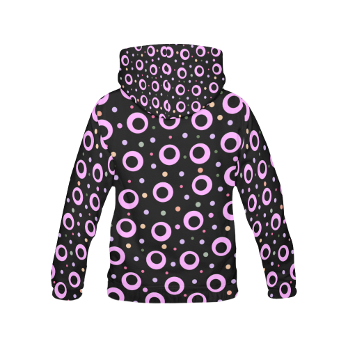 POINTS PINK ON BLACK All Over Print Hoodie for Women (USA Size) (Model H13)