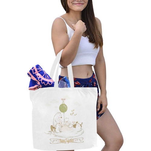 Happy Bear Family Canvas Tote Bag/Large (Model 1702)