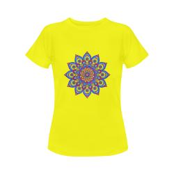 Brilliant Star Mandala Yellow Women's Classic T-Shirt (Model T17)