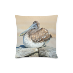 """Pelican On The Dock Custom Zippered Pillow Case 16""""x16""""(Twin Sides)"""