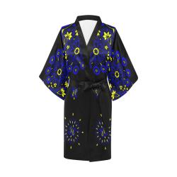 blue yellow bandana version 4 Kimono Robe