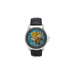 Beautiful Vintage Flower Unisex Stainless Steel Leather Strap Watch(Model 202)
