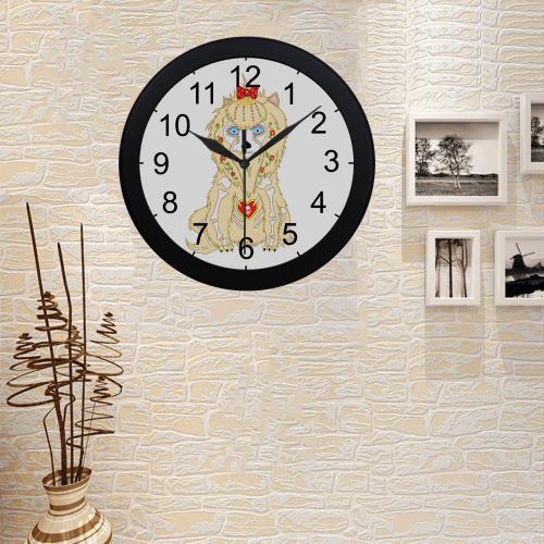 Adorable Yorkie Sugar Skull Circular Plastic Wall clock