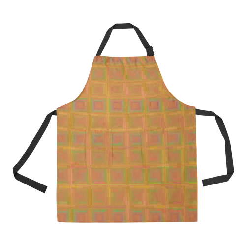 Golden pink multicolored multiple squares All Over Print Apron