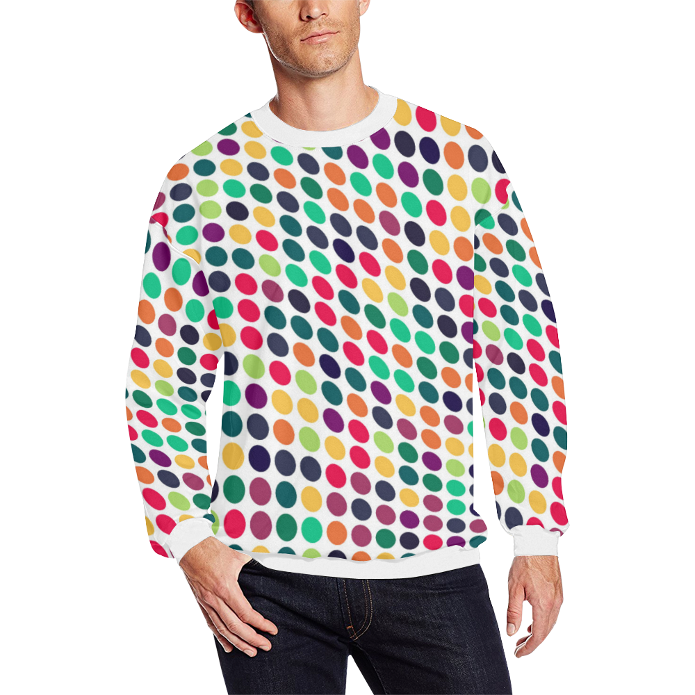 dots1 Men's Oversized Fleece Crew Sweatshirt (Model H18)
