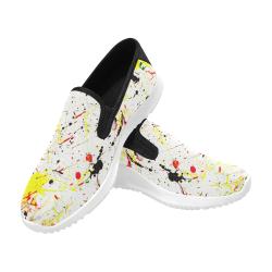 Yellow & Black Paint Splatter (Black) Orion Slip-on Men's Canvas Sneakers (Model 042)