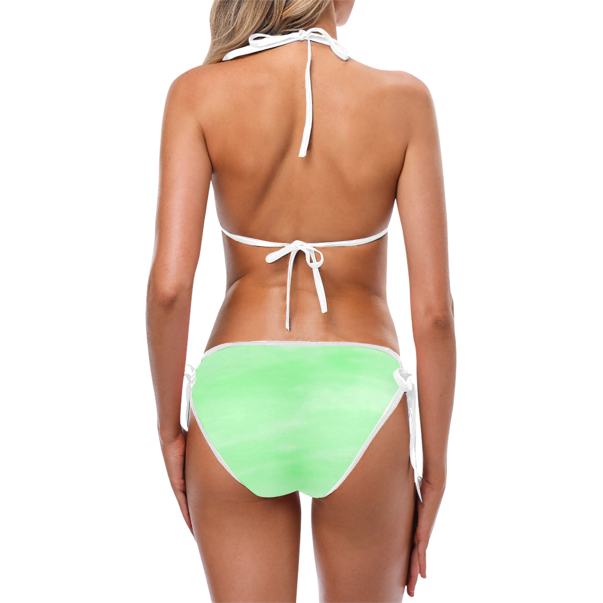 Mint Watercolor Custom Bikini Swimsuit (Model S01)