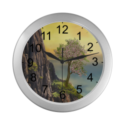 Mountain And A Cherry Tree Silver Color Wall Clock
