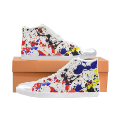 Blue & Red Paint Splatter- White High Top Canvas Women's Shoes/Large Size (Model 002)