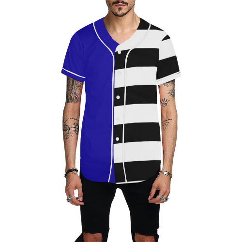 Blue and Stripes Mixed Print All Over Print Baseball Jersey for Men (Model T50)