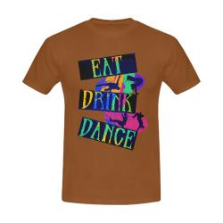Break Dancing Colorful on Brown Men's Slim Fit T-shirt (Model T13)