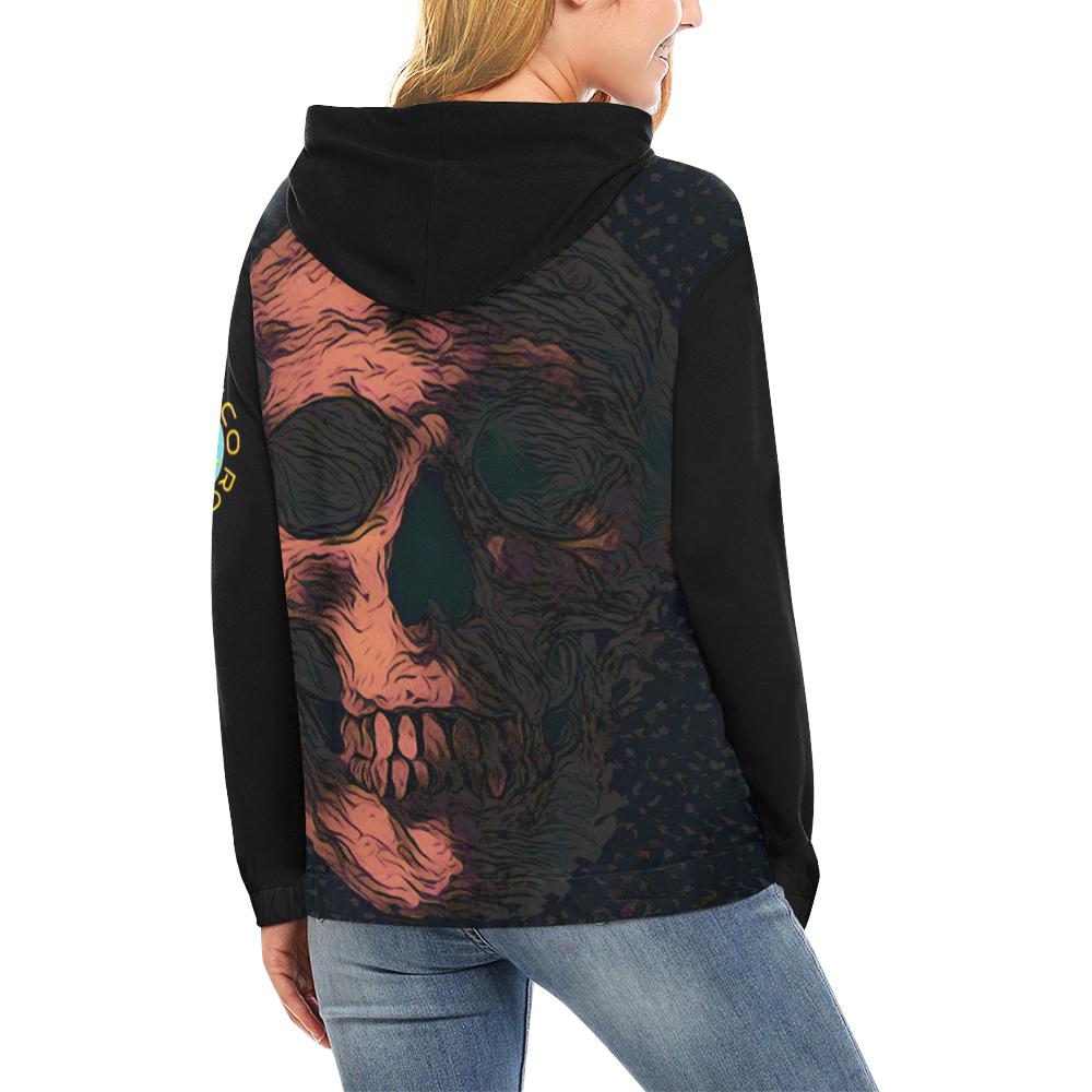 SKULL ART CRASSCO All Over Print Hoodie for Women (USA Size) (Model H13)