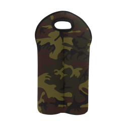 Camo Green Brown 2-Bottle Neoprene Wine Bag