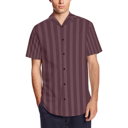 Maroon Stripes Men's Short Sleeve Shirt with Lapel Collar (Model T54)