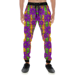 fantasy flower wreaths and bohemic  in rainbows Men's All Over Print Sweatpants (Model L11)