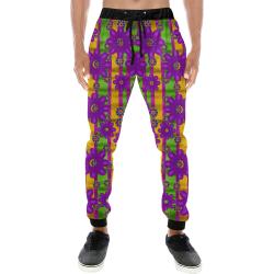 fantasy flower wreaths and bohemic  in rainbows Men's All Over Print Sweatpants (Model L11)