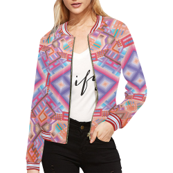Researcher All Over Print Bomber Jacket for Women (Model H21)