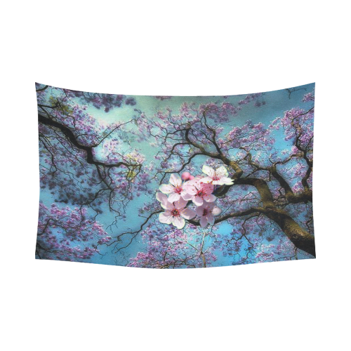 "Cherry blossomL Cotton Linen Wall Tapestry 90""x 60"""