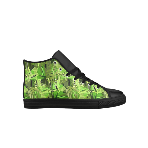 Tropical Jungle Leaves Camouflage Aquila High Top Microfiber Leather Men's Shoes (Model 027)