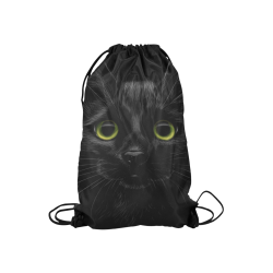 "Black Cat Small Drawstring Bag Model 1604 (Twin Sides) 11""(W) * 17.7""(H)"