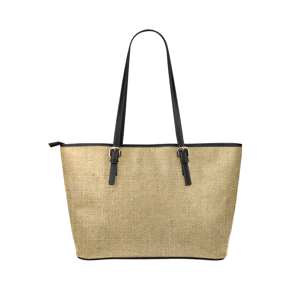 Burlap Coffee Sack in black Leather Tote Bag/Large (Model 1651)