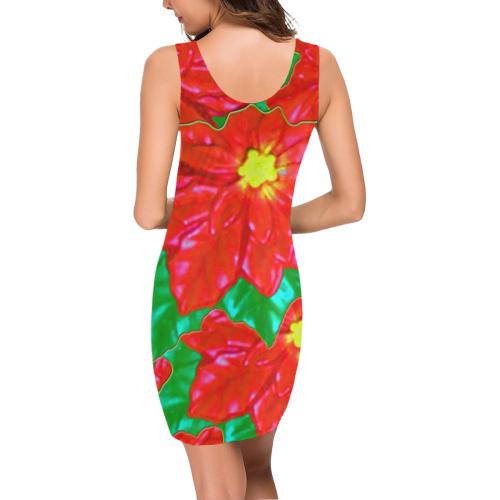 Red Orange Poinsettias Medea Vest Dress (Model D06)