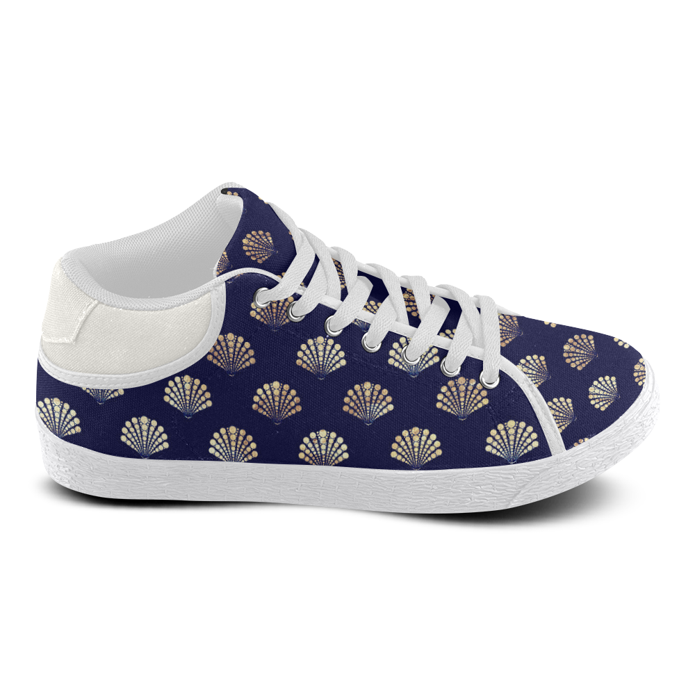 James navy and gold Men's Chukka Canvas Shoes (Model 003)