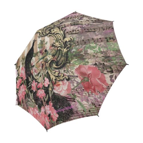 Fairlings Delight's Parasol Collection- Peacock Altered Art 53086a1 Semi-Automatic Foldable Umbrella (Model U05)