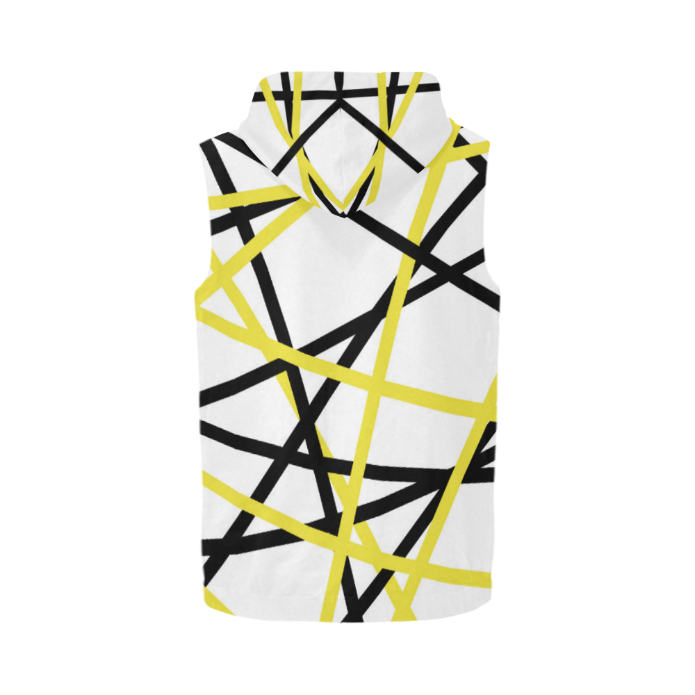 Black and yellow stripes All Over Print Sleeveless Zip Up Hoodie for Men (Model H16)